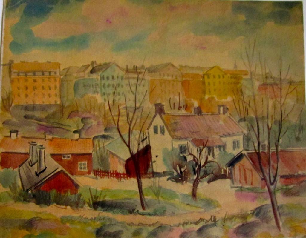 Akvarell, Stadsvy, 3100 kr