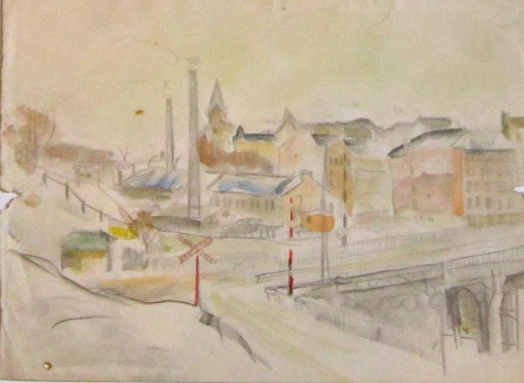 Akvarell, Gatukorsning, 3100 kr