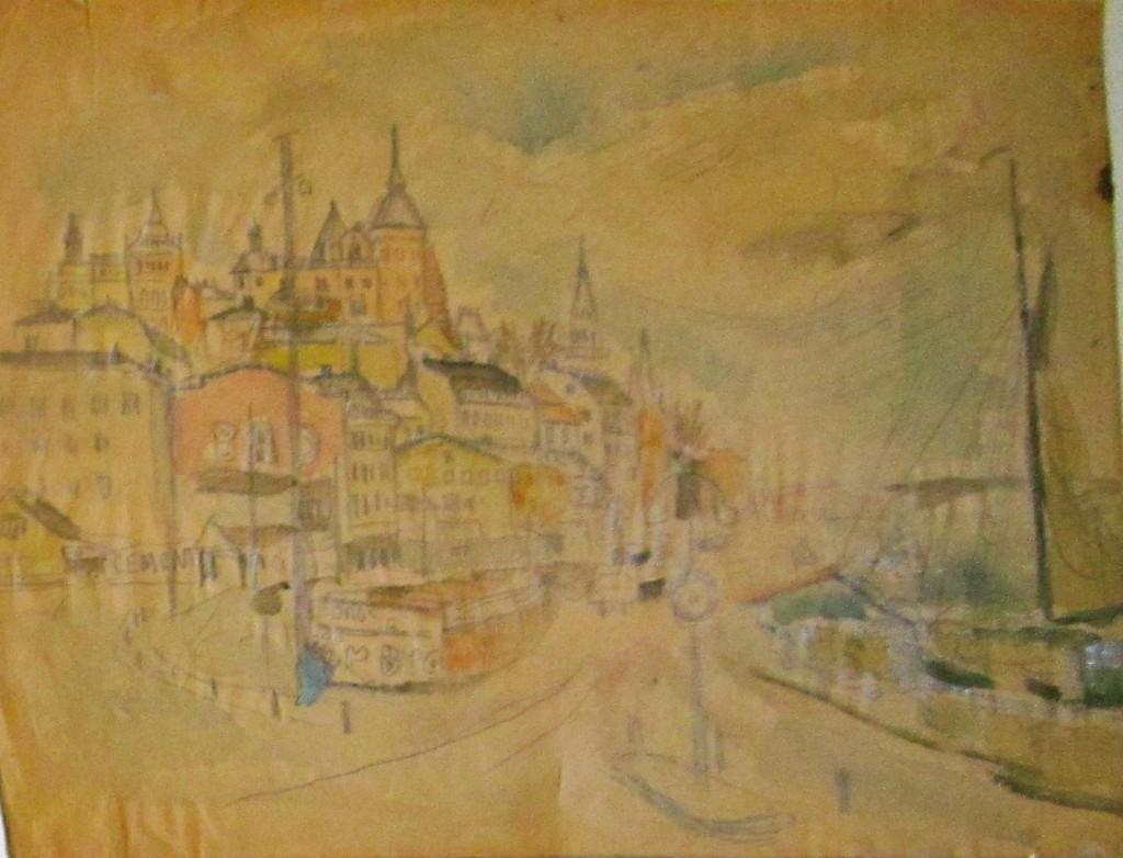 Akvarell, Stadsbild, 3100 kr