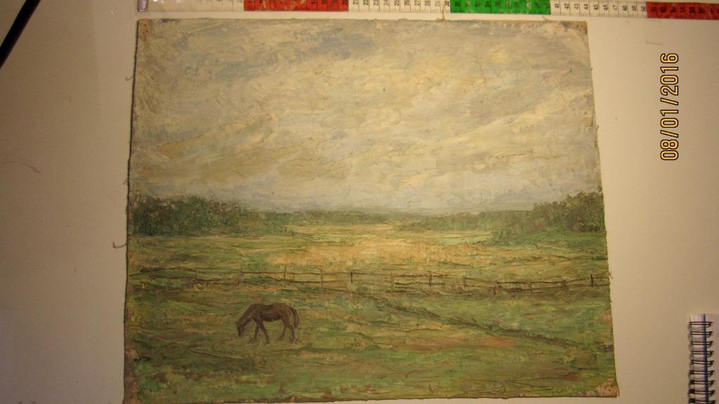Betande häst. olja på duk, 43,5 cm bred, osignerad - 4000 kr