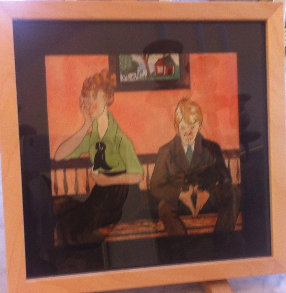 """12. Akvarell """"Par i soffan"""", 1918, signerad - fråga om pris!"""